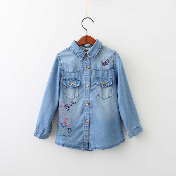 Everweekend Girls Butterfly Floral Embroidered Denim Blouses Lovely Kids Button Pocket Fall Shirts 5 p/l
