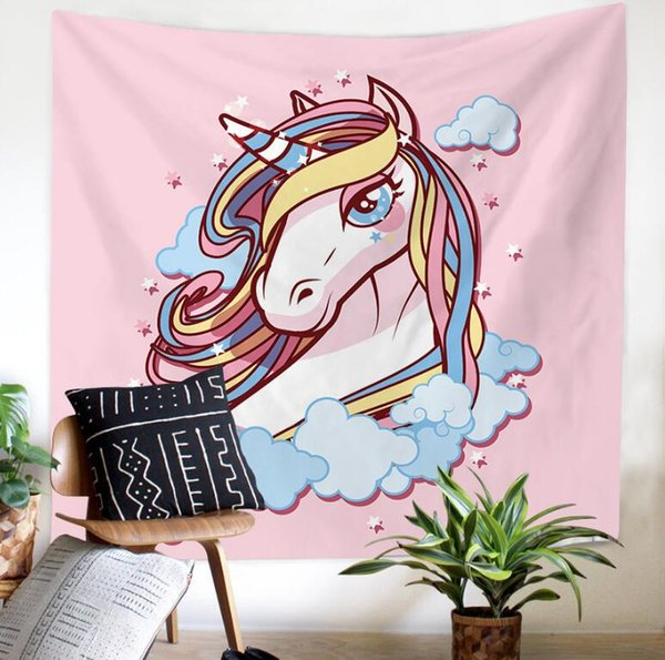 Wholesale-Unicorn 3D Creative Pattern Tapestry Ployester Wall Hanging Tapestry for Wall Decoration Fabric Home Background Cloth Yoga Mats