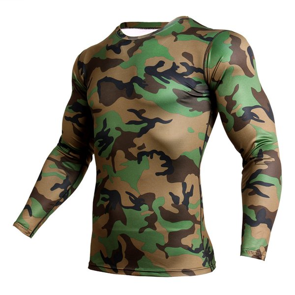 Camouflage Compression Shirt Men Long Sleeve Dry Fit Gym T Shirt Fitness Top Sport Clothing Rashgard Soccer Jersey Men