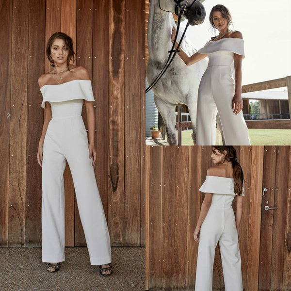 2020 Simple Satin Wedding Dresses Jumpsuits Off The Shoulder Custom Made Beach Wedding Dress Ankle Length Bohemian Bridal Gowns