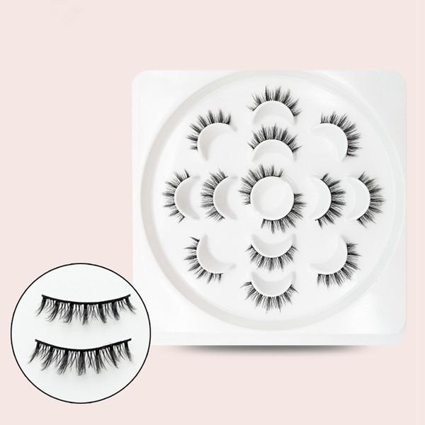 Femmes 3D Vison Faux Cils Fille Épais Longue Main Maquillage Des Cils Cils Maquillage Outils 7 Paires / ensemble RRA648