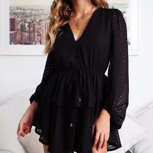 Women Ruffle Layered Button White Chiffon Jumpsuit Long Sleeve Overall Rompers Casual Sexy Streetwear Mesh Black Playsuit