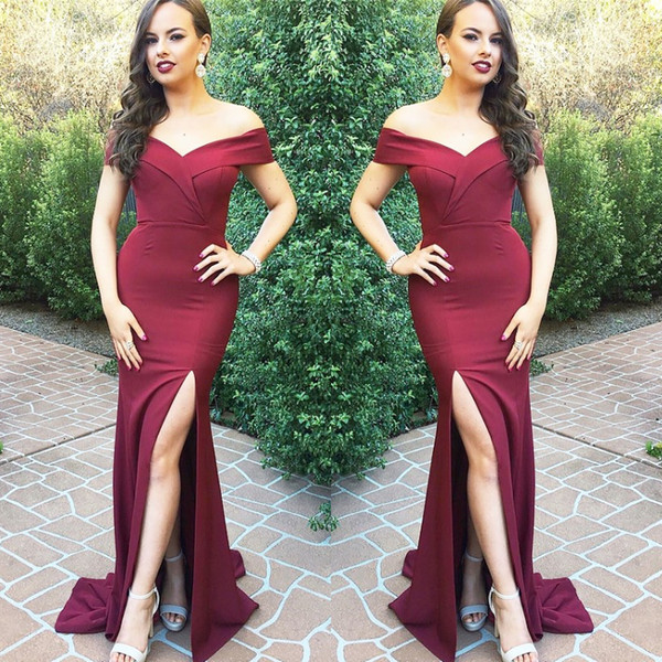Burgundy Off Shoulders Mermaid Prom Dresses tight Front Slit Cutouts Sexy Formal Evening Gowns Elegant Custom Size 12 16 Fashion abaya 2019