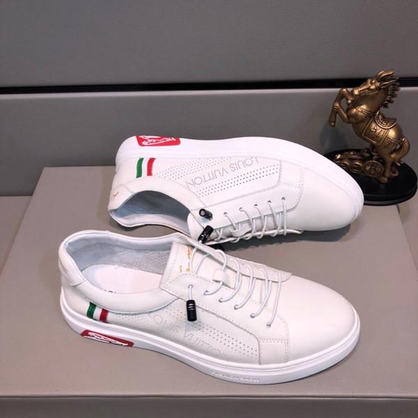 2019e outono novo design de moda de luxo dos homens de couro low-top sneakers, de alta qualidade versátil sapatos baixos, embalagem da caixa original, tamanho: 38-44