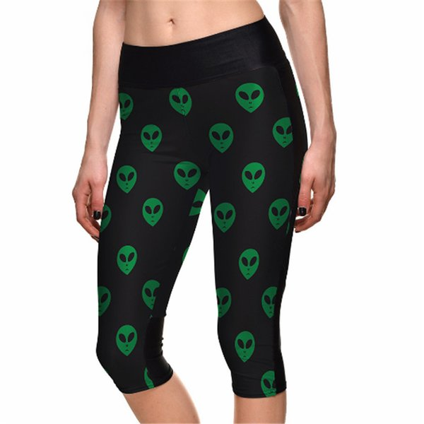 Summer Fashion Black Leggings Green aliens Print 7 Point Pants high waist Side pocket Plus Size Drop shipping