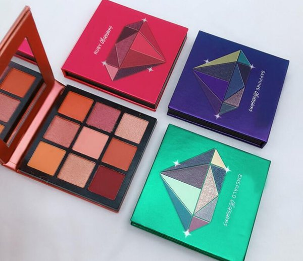Brand hudabeaut ob e ion neon 9 color eye hadow palette topaz ruby amethy t apphire emerald diamond palette dhl hipping