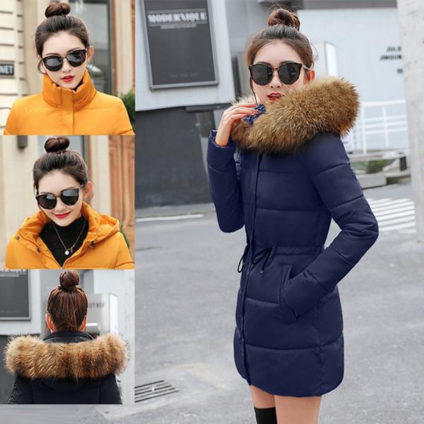 Hood ile Kürk Yaka uzun kış ceket kadınlar kalın pamuk yastıklı sıcak sashes İnce siyah palto kadın kış 2019 kadın parkas
