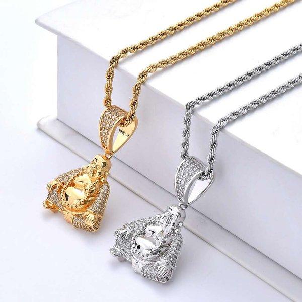 Hip hop Maitreya Buddha diamantes collares pendientes para los hombres colgantes de cristal de lujo chapado en oro real collar de circonitas de cobre joyería budista