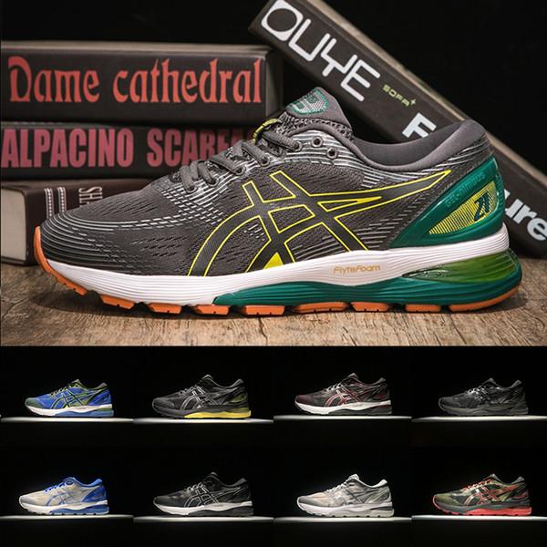 GEL-Nimbus 21 Asicss Atletik Koşu Ayakkabıları Fly Örgü Siyah Beyaz Mavi Gri Erkek Ultra Eğitmenler Yardımcı Adam Spor Koşu Ayakkabıları Sneakers