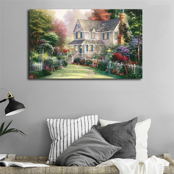 Thomas Kinkade Victorian Garden Poster Canvas Painting Oil Framed Wall Art Print Pictures For Living Room Modern Home Decoracion Framework