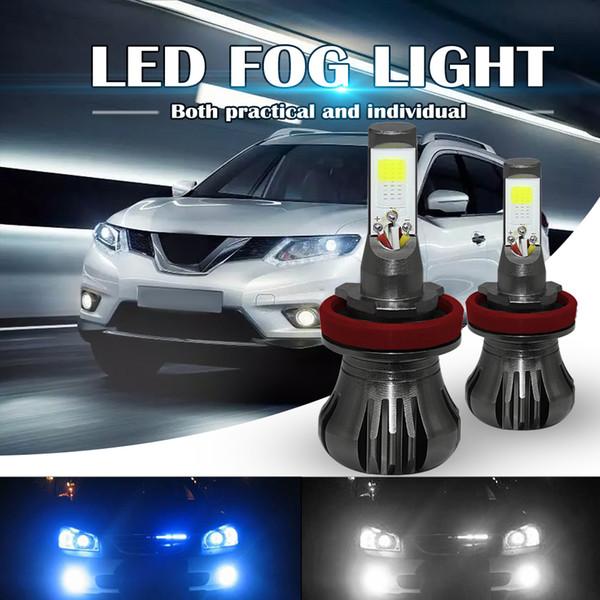 Dual Color In 1 160w H8 H9 H11 Led Fog Light Bulbs 6000k White 8000k Ice Blue Colors Strobe Lamp Bulb Cob Bulb Kit Fog Lamp Kits Fog Lamp Led From