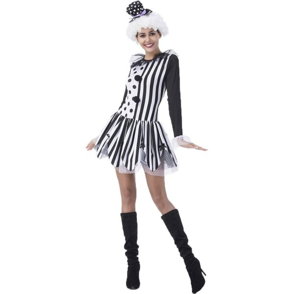 Killer Clown Halloween Costumes For Girls.Umorden Black White Lady Killer Clown Costume For Women Girls Halloween Party Carnival Fantasia Costumes Dress Halloween Costumes For Couples French