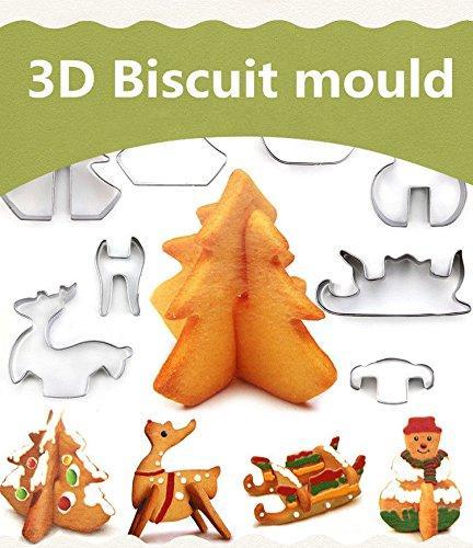 Noel Kek Kurabiye Kesiciler Seti 3D Bisküvi Aracı Pişirme Kalıpları Senaryo Favori Tatil Şekiller Paslanmaz Çelik -