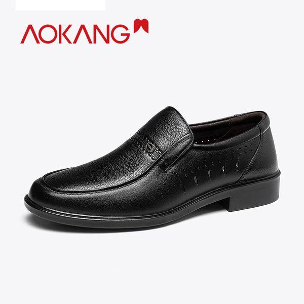Aokang 2019 Hombres Zapatos de vestir Verano Verano Cuero genuino Hombres Zapatos huecos Transpirable Cómodo Moda Formal Slip On
