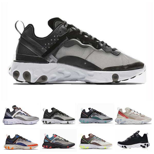 Nike Airmax Air Max 87 React Element 87 Zapatillas De Deporte Encubiertas Sail Light Bone Blue Chill Solar Antracita Negro Diseñador Zapatillas
