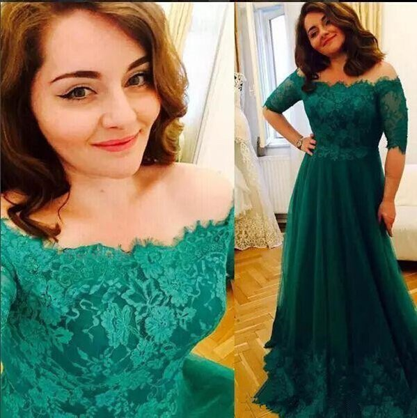 2019 Emerald Green Mother of The Bride Dresses Vintage Lace Appliques Illusion Tulle A-Line Off The Shoulder Plus Size Mother's Dresses
