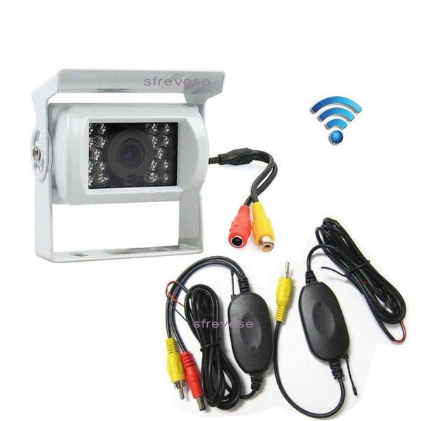 White Wireless 18 LED IR Night Vision Waterproof Vehicle Car Rear View Reversing Backup Parking Camera For Bus Truck Motorhome Trailer