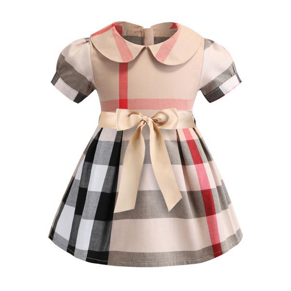 2019 Mädchen Kleid Frühling und Sommer Neue Baumwollkleidung Revers Kurzarm Plaid Rock Kinder Kleid