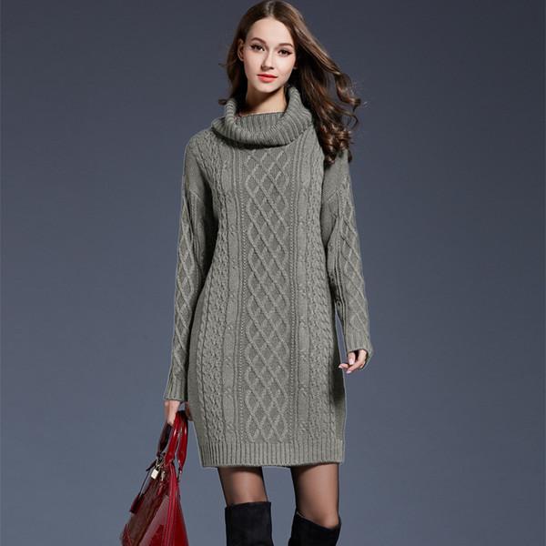 2019 Winter Crochet Sweater Dress Plus Size Spring Women Long Sleeves  Turtleneck Black Knitted Dress Lady Dresses Dresses From Women In Long  Dresses ...