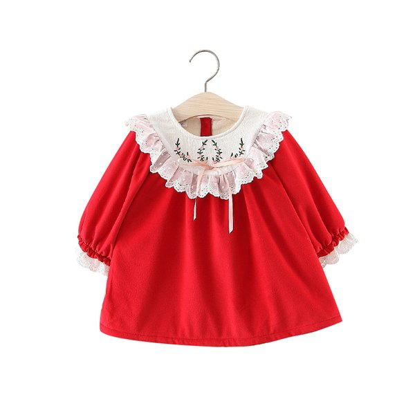 Baby Girls Warm Dress Top For Newborn Winter Autumn 1 Year Clothes Red Thick Kids Princess Shirt Toddler Embroidery Lace Dresses Y19050801