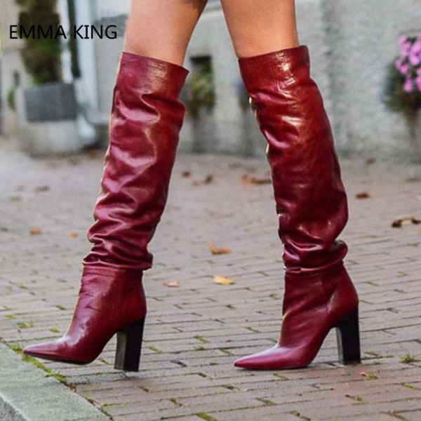 Winter New Sexy Red High Boots Nightclub Pointed Wrinkles Rough Model Catwalk Over The Knee Booties party Shoes Woman High Heel