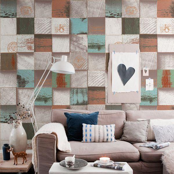 PVC HD pattern heart wood blocks wallpaper antique 3D wood grain clothing store restaurant background wall home leisure area decor