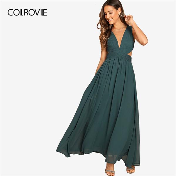 Colrovie Green Con Cuello En V Cintura Cruzada Prom Wrap Party Maxi Mujer Verano Sin Mangas Una Línea Salida Noche Vestido Largo Q190508