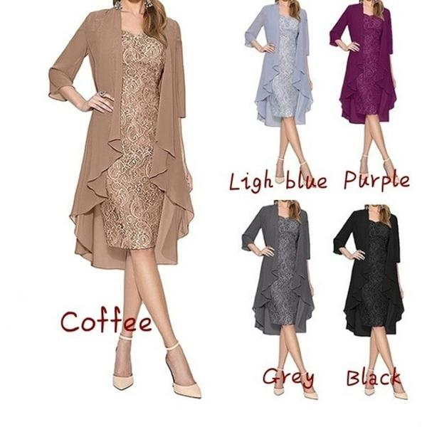 2019 Fashion Mother's Dresses Lace Mini Knee Length Dress Charming Party Gowns For Mother of The Bride Dresses 2 Piece Long Sleeve Irregular