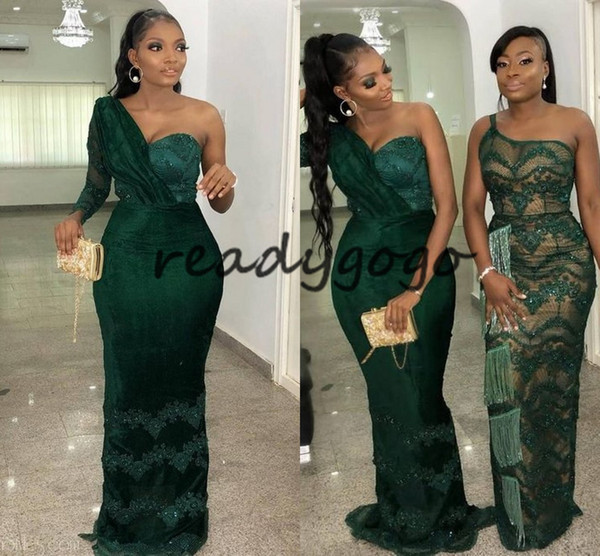 Latest Lace Asoebi Styles Volume Prom Formal Dresses 2020 Shoulder Hunter Green Lace African Mermaid Occasion Evening Wear Gowns