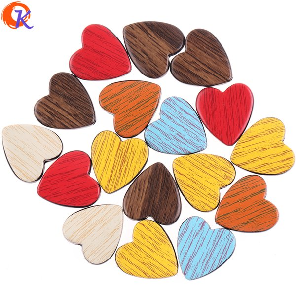 wholesale 100Pcs 23*25MM Earring Findings Mix Color Imitation Wood Beads Heart Shape Acrylic Beads For Jewelry Accessories