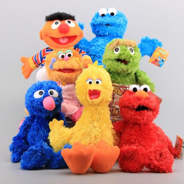 Sesamstraße 7 Stücke Plüsch Handpuppe Spielzeug Puppen Elmo Cookie Monster Ernie Big Bird Grover Gefüllte Puppen Kinder Lernspielzeug