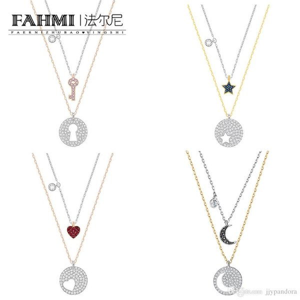 FAHMI SWA Crystal Wishes Star Moon Heart Shape Valentine's Day Key and Lock Two-in-one Chain Set Women's Clavicle Chain Rose Gold