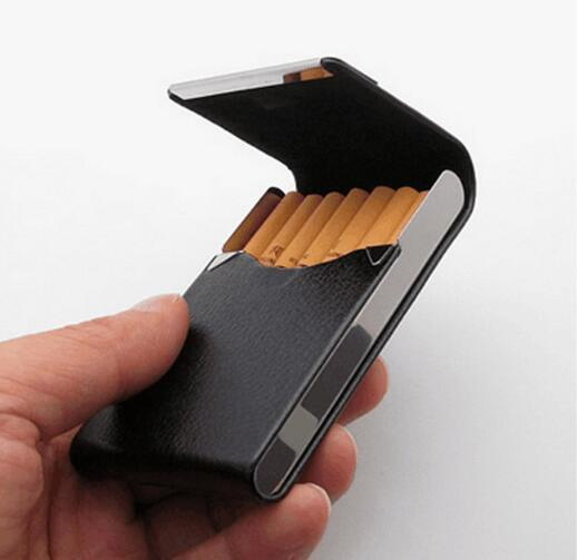 Siete nuevos paquetes de cigarrillos verticales, paquetes de cigarrillos de cuero de metal, paquetes de tarjetas de visita envueltos en metal, paquetes de cigarrillos WL736