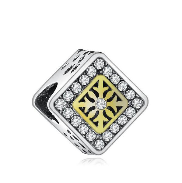 Material de Liga de Presente de dia das mães Ródio Banhado A Ouro de Cristal Strass Quadrado Charme Europeu Bead para DIY Pulseira Fazendo