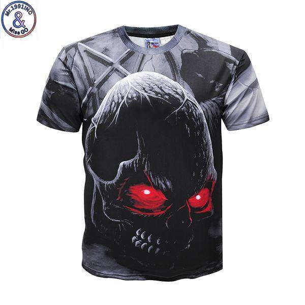 Mr.1991 Brand Newest Arrive Funny Design Terror Red Eye Skull 3d Printed Girl's Big Kids 12-20 Boys T-shirt Tops Dk637 J190529
