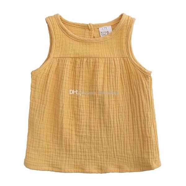 Kinder Designer Kleidung Mädchen T-Shirts Baumwolle Leinen Kinder ärmellose Tops Bonbonfarben Weste Tees 2019 Sommer Mode Baby Kleidung C6733
