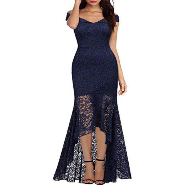 Frente curta longa volta azul escuro halter arco banquete da dama de honra do partido vestidos 2019 novo estilo cabresto arco dama de honra
