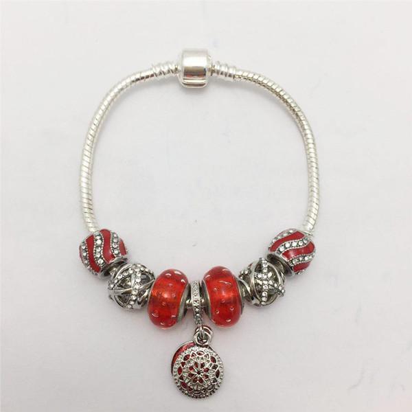 Nuovo stile DIY Perle di vetro a bolle rosse Ciondolo a forma di cerchio Bracciale a forma di serpente