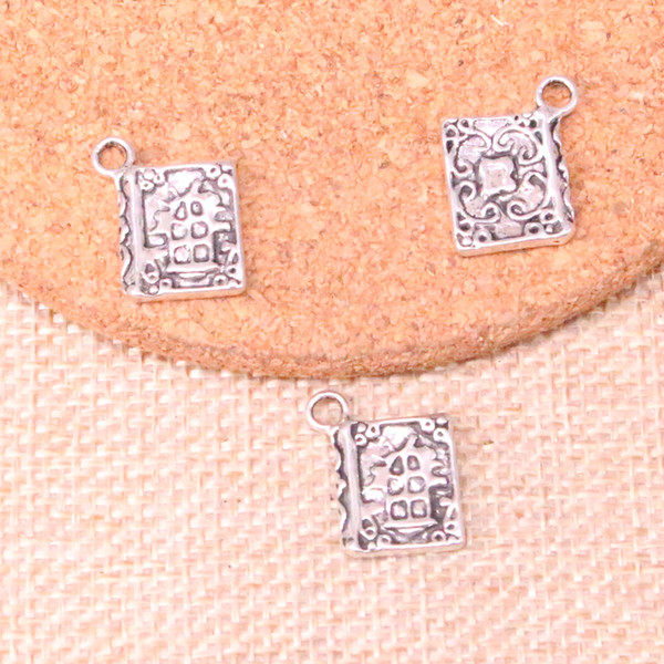 123pcs Charms book holy bible Antique Silver Plated Pendants Fit Jewelry Making Findings Accessories 17*11mm