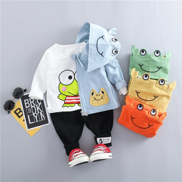 Hylkidhuose 2019 Spring Baby Girls Boys Clothing Sets Toddler Infant Clothes Suits Cartoon Coats T Shirt Pants Children Costume J190513