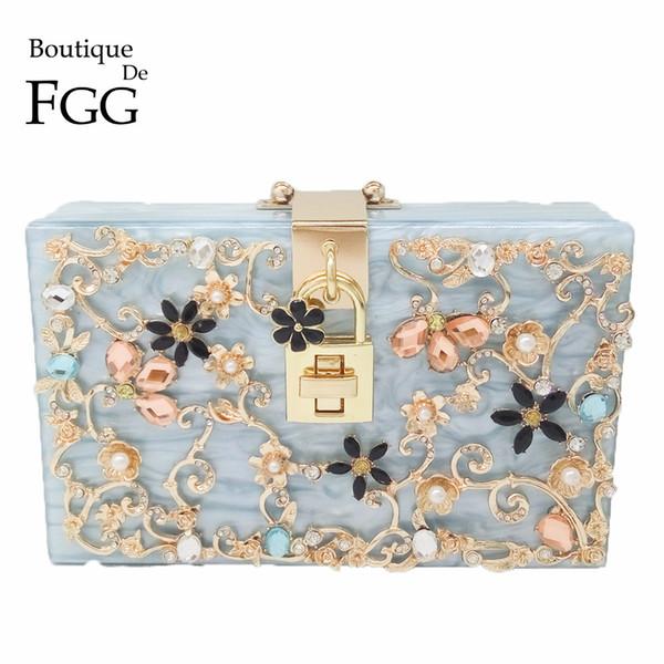 Boutique De FGG Bleu Clair Fleur Cristal Femmes De La Mode Jour Embrayages Boîte Acrylique Embrayage Soirée Sac À Bandoulière Sac À Main Bourse