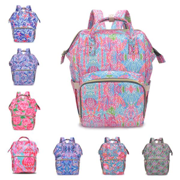Nueva Lily mamá mochila impresa mamá bolsa de pañales de moda mochila del bebé pañal para mujeres embarazadas grandes bolsas de lona al aire libre bolsa de almacenamiento T2D5028