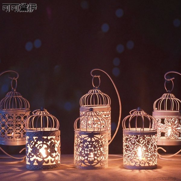1PC White Hollow Holder Candlestick Tealight Hanging Lantern Bird Cage Vintage Wrought New D19011702