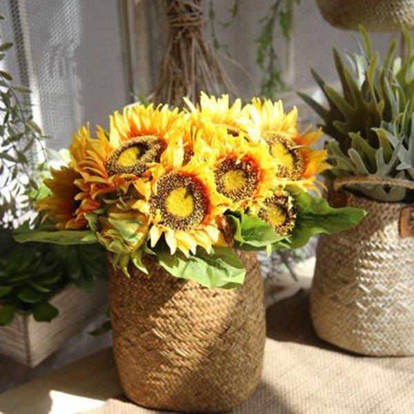 Tournesol Bouquet Soie Fleur Home Decor Faux Fleur Bouquets De Main Plantes Artificielles De Mariage Décorations D'affichage 7 Têtes / bouquet