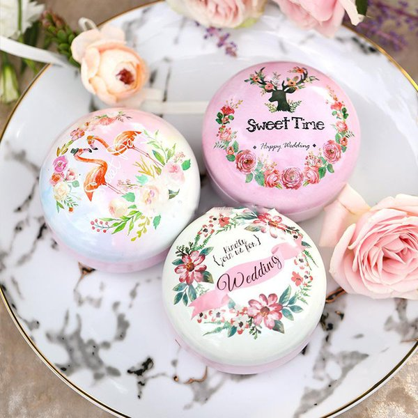 Metal Tin Candy Box Wedding Favor Package Retro Flowers Tea Caddy Round Circle Tea Organizer Container