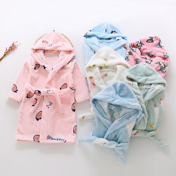 Sleep Tops Children Hooded Bathrobes Cartoon Kids Robes Flannel Child Boys Girls Robes Lovely Animal Hooded Bathrobe Cartoon Animal Attractive Fashion