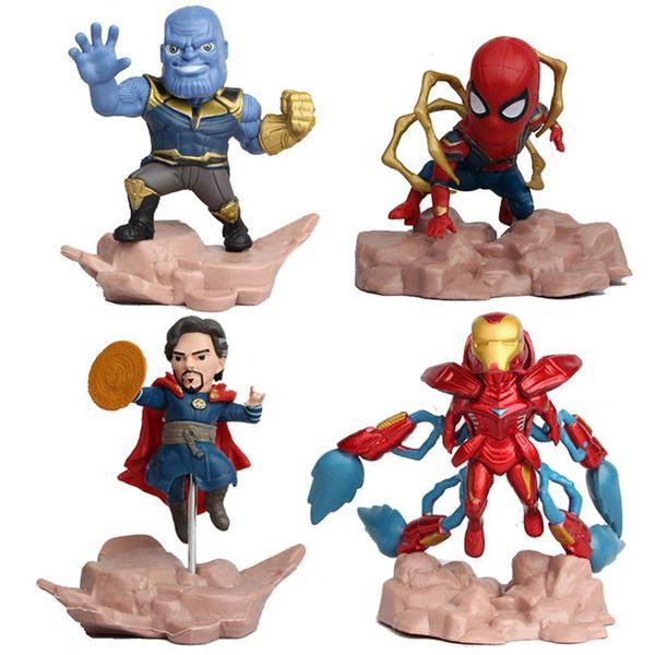 Niños 4 unids / set Toy Avengers Superhéroe Spiderman Mini Iron Man PVC Figura de acción Modelo Muñecas de juguete Cool toys L