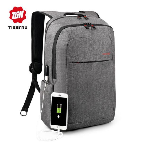 2018 Tigernu Tuval erkek Sırt Çantası Marka Erkekler için 15.6 Inç Laptop Notebook Mochila Su Geçirmez Sırt Paketi okul sırt çantası K4447