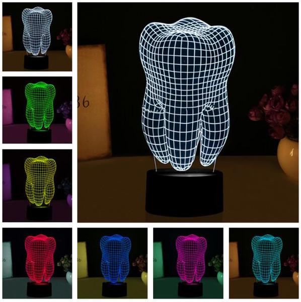 New Fantastic Illusion Tooth 3D LED Night Light Colorful Bambini Baby Bedroom Atmosphere Table Lampada fredda come regalo per la festa di Natale del dentista