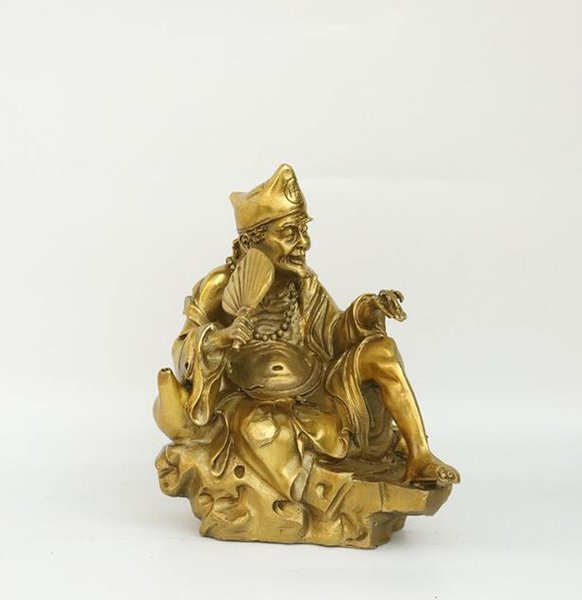 Pure copper Jigong ornaments holding a fan living Buddha Jigong bronze statue to protect the peace of home decorations crafts ornaments